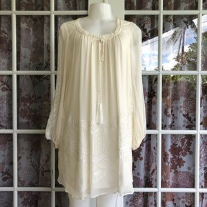Alice + Olivia White Silk Tunic Dress S